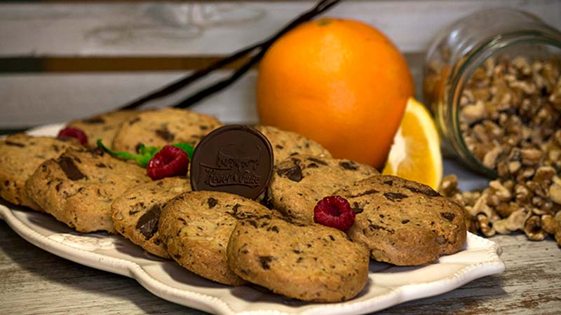 cookies de chocolate, frutos secos y naranja